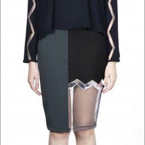 Edgy Midi Jersey Skirt